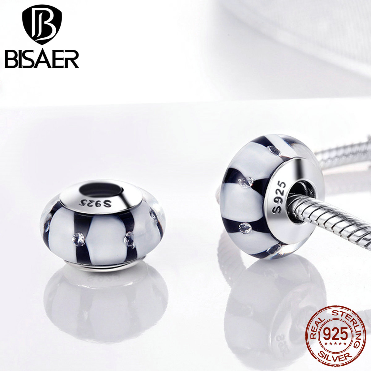 BISAER NEW Arrival 925 Sterling Silver Black & White Stripe S925 Glass Beads Fit Original Charms Bracelets Women Jewelry Z050