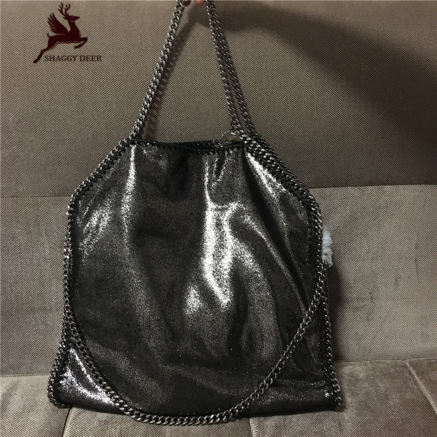 Exclusive High End Shiny Black PVC Luxury 3 Chain Fold Over Soft Shaggy Deer Brand Tote Ladies St Large Capacity Chain bag 600cm 300cm backgrounds garden beautiful sunshine photography backdrops photo lk 1566