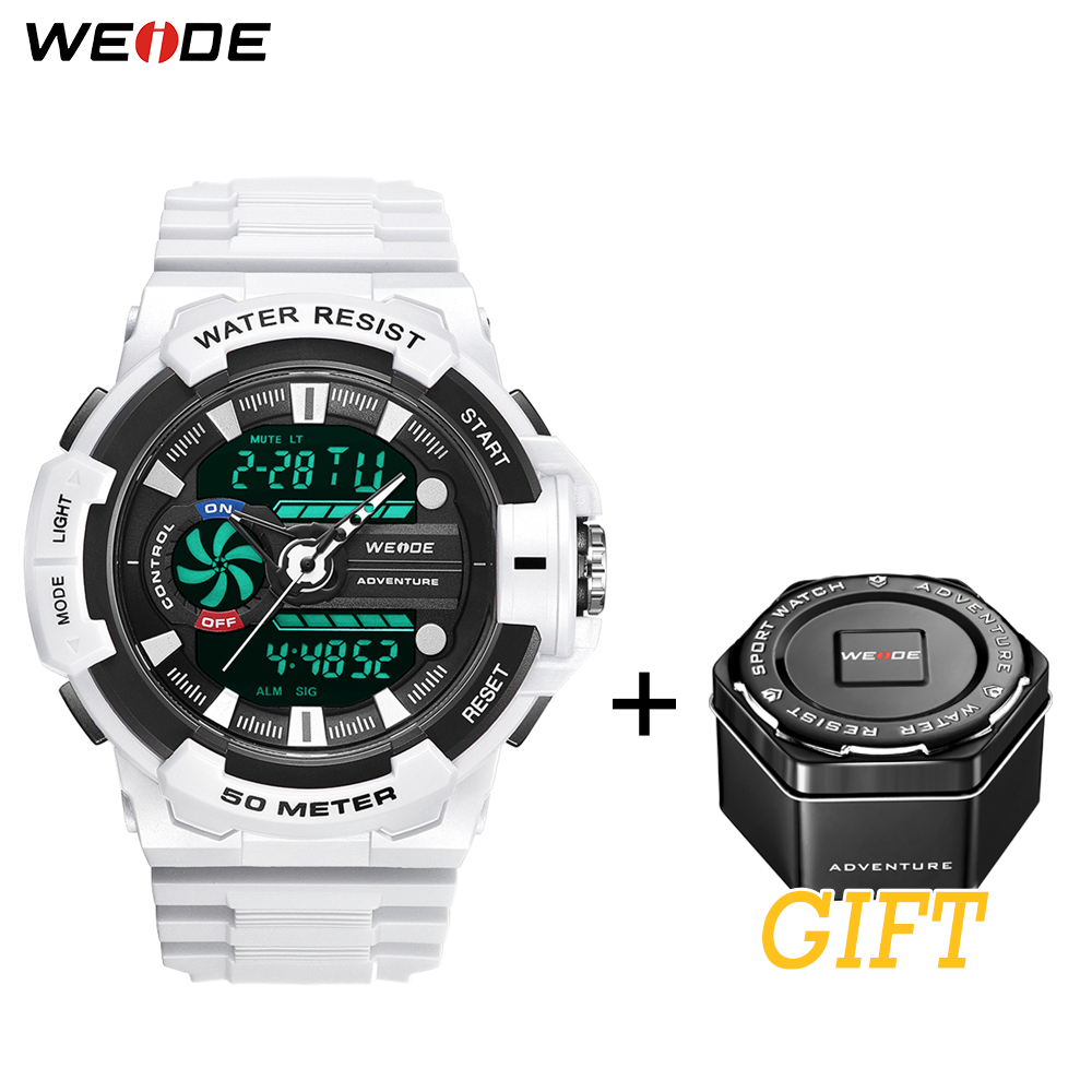 WEIDE Mens Electronic 50 Meters Waterproof Clock Sports Alarm Date Analog Digital Military Army Quartz PU Strap Band Wrist Watch in Digital Watches from Watches