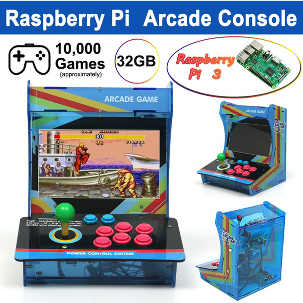 """Retro Mini Arcade Machine with 10000 Classic Video Games 1 Player Raspberry Pi Plug and Play Game Cabinet Console with 10""""Screen"""
