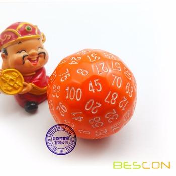 Zestaw kości wielościennych Bescon 100 kości kostka D100 kostka 100 gra w kości D100 kostka 100 w kolorze pomarańczowym tanie i dobre opinie BCD24013