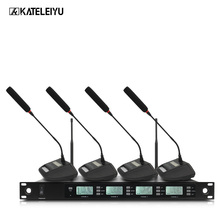 цены Professional Microphone 200 Channel Optional Frequency 4 Channel Handheld Wireless Microphone System Stage Home KTV Microphone