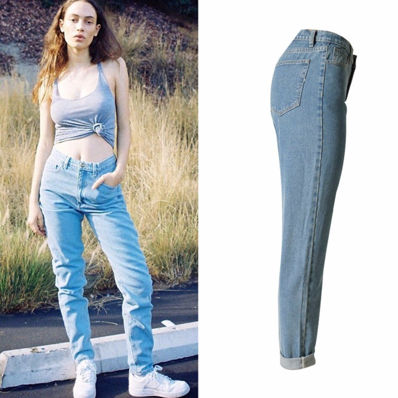 TryEverything Vintage Boyfriend Jeans For Women High Waist Puls Size Solid Casual Mom Jeans Women Straight Demin Jean Femme 2019 in Jeans from Women 39 s Clothing