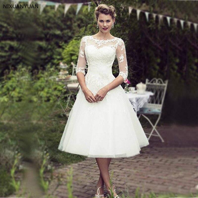 Vestido De Noiva Plus Size Wedding Dress Lace Three Quarter Sleeve Tulle Sash Beaded Short Bridal Dresses 2020 Tulle Mid-Calf