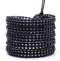 Fashion basic black natural stone Wrap Bracelet beaded Leather chain Wrap Bracelet Jewelry-Free Shipping