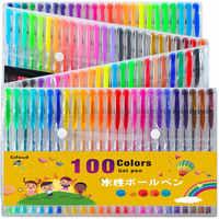 Ccfoud 100 Colors Gel Pen Set Sketching Drawing Color Pens For School office Stationery Metallic Pastel Neon Glitter Gel Pens