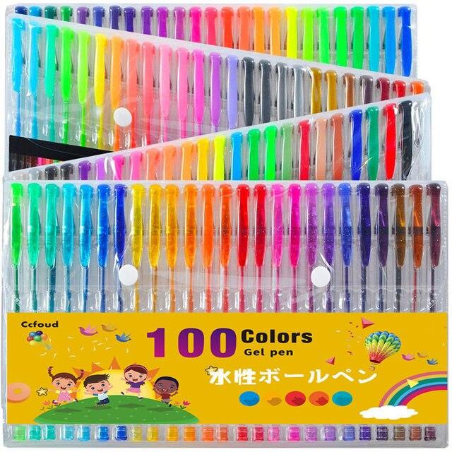 Ccfoud 100 צבעים ג ל עט סט שרטוט ציור צבע עטים עבור בית ספר משרד מכתבים מתכתי פסטל ניאון גליטר ג ל עטים