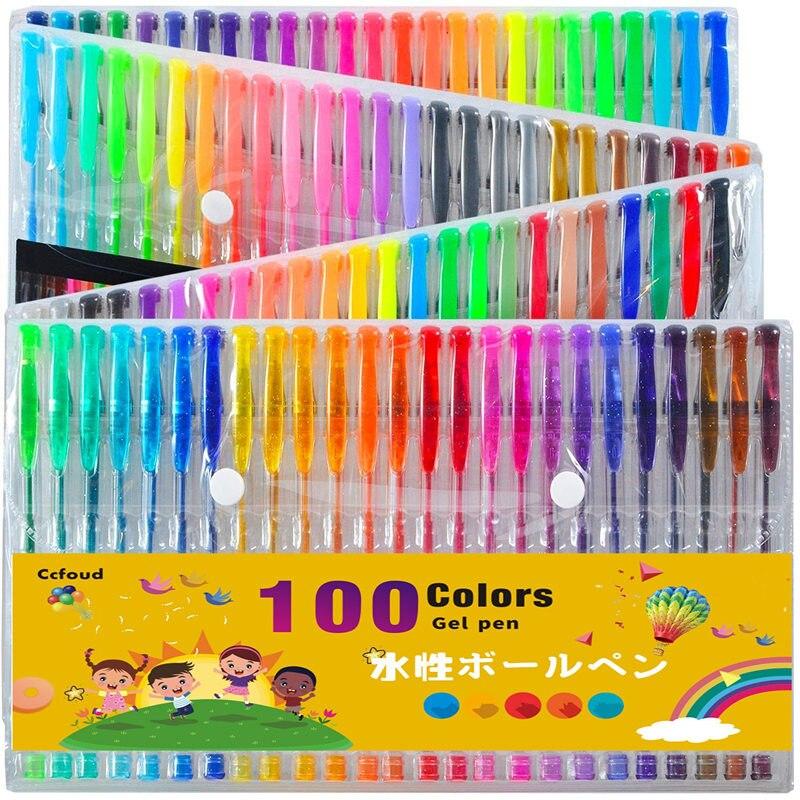 Ccfoud 100 Cores Gel Pen Set Desenho da Cor de Desenho Canetas Para A Escola escritório Papelaria Pastel Neon Canetas Gel Glitter Metálico