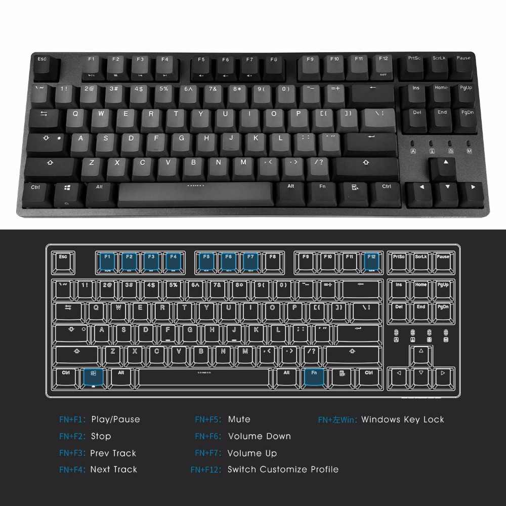 e36e63dee5e ... DURGOD 87 TKL Gaming Mechanical Gaming Keyboard with Cherry MX Silent  Red Switch PBT doubleshot Keycaps ...