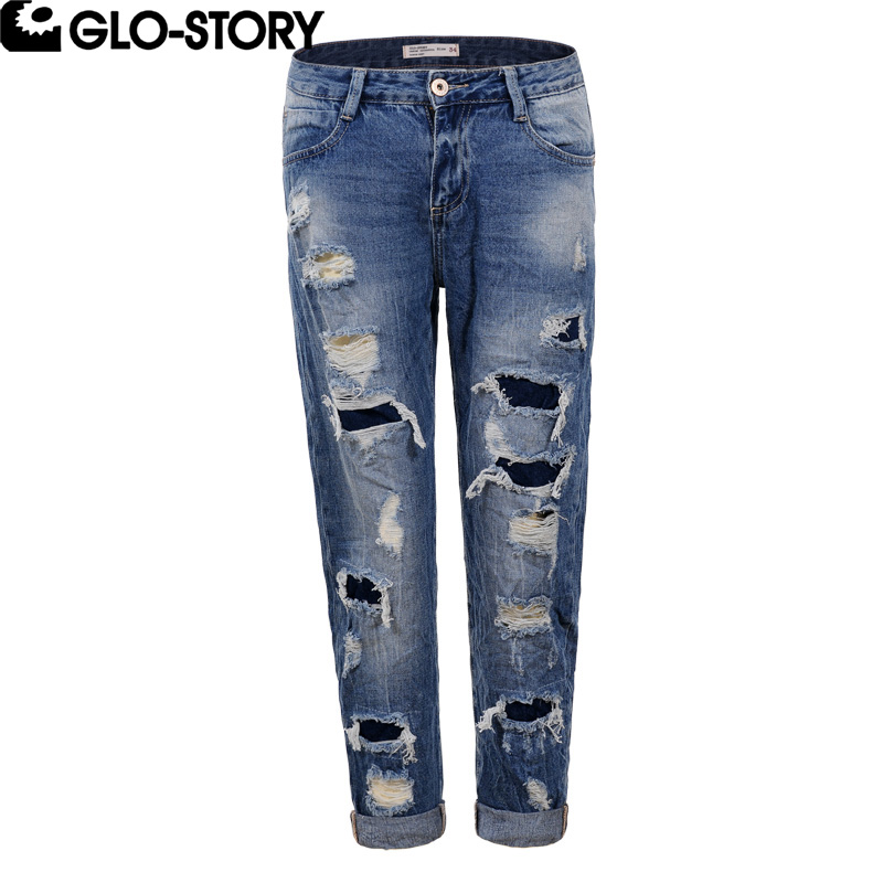 GLO-STORY Women Hollow out Mid-waist Boyfriend Denim Jeans woman 2017 Distressed Jean Ladies Patchwork Ripped Jeans WNK-5126 gothic gridding hollow out women s waist slimming corset
