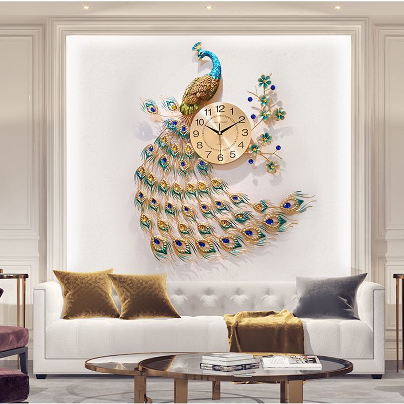 Buy Fashion Large Peacock Wall Clock For Home Living Room Art Decoration Metal