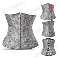 New Arrival Grey Jacquard Embroidery Steel Buckle Lace Up Underbust Waist Trainer Corset Sexy Corpetes E Espartilhos For Women