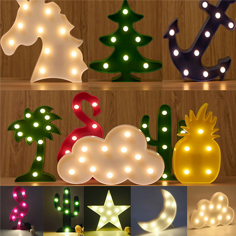 3D Shine Table Lamp Flamingo Cactus Pineapple Night Light Moon Star Cloud Christmas Tree Novelty Luminar Nightlight Kids Bedroom