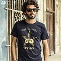 Serie AK CLUB Marca Camiseta Cuba libre Pentagram Estrella Impreso Camiseta de Algodón de Manga Corta Camiseta Ocasional de Los Hombres T-shirt 1600007