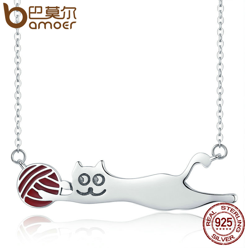 BAMOER Authentic 100 925 Sterling Silver Little Naughty Cat Long Pendant Necklace Women Sterling Silver Jewelry