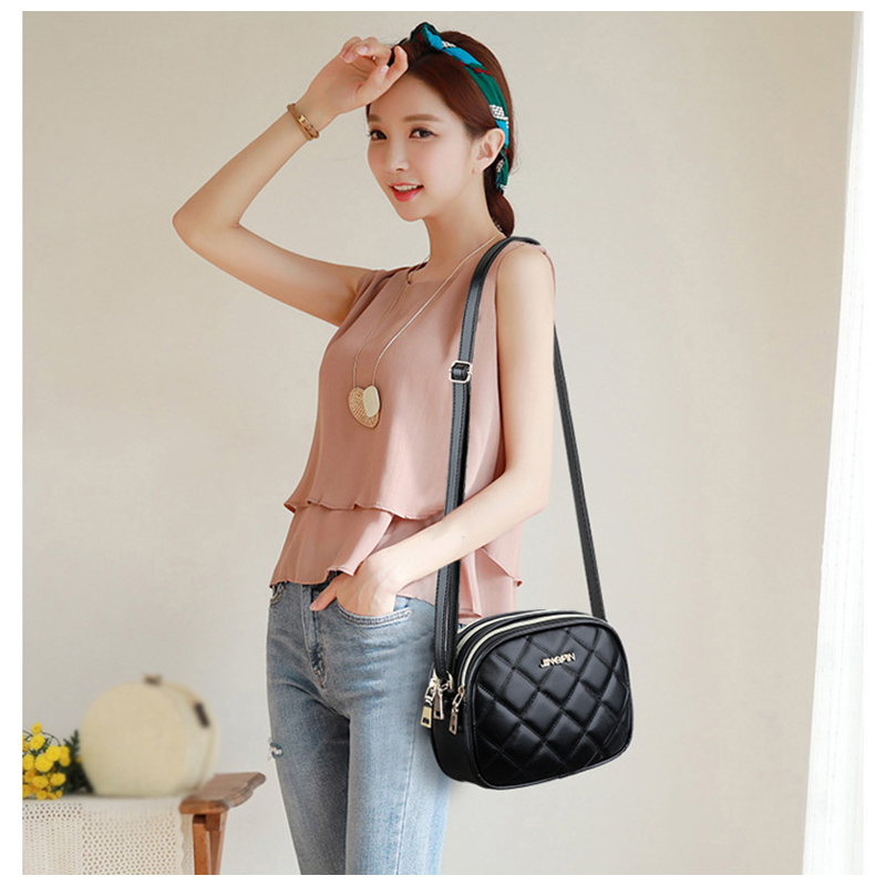 new fashion diamond lattice shoulder bag for women 2019 PU leather ladies small satchel handbags female classic messenger bags in Shoulder Bags from Luggage Bags