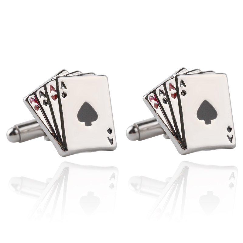 4A Poker Cufflinks Male French Shirt Cuff Links Cards Design Cuff Links Fashion For Men's Jewelry Father's Day Gift
