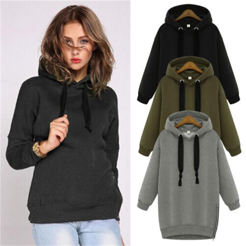 ▪  Hoodies Sweatshirt Jumper Warm Hoody Pocket Baggy Top Plus Ladies