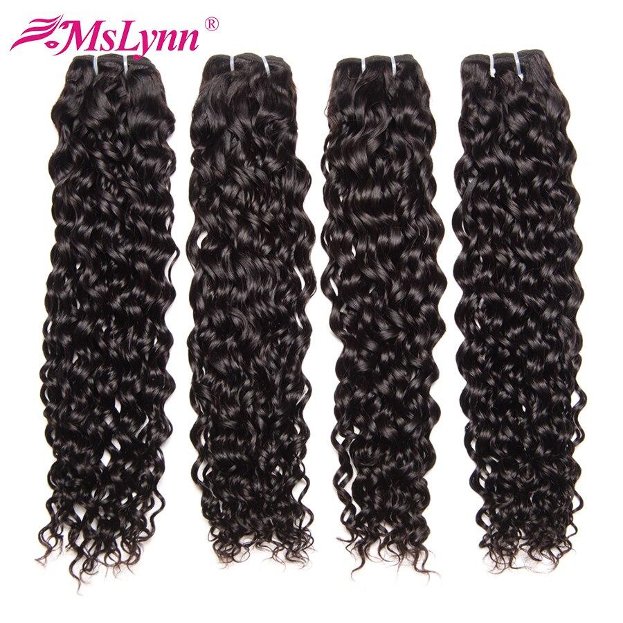 Mslynn Hair Water Wave Brazilian Hair Weave Bundles 1PC Non-Remy Human Hair Bundles 10″-28″ Natural Color Free Shipping