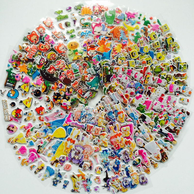 10Pcs/lot Bubble Stickers 3D Cartoon Hello Kitty Dinosaur SpongeBob Classic Toys Scrapbook For Kids Children Gift