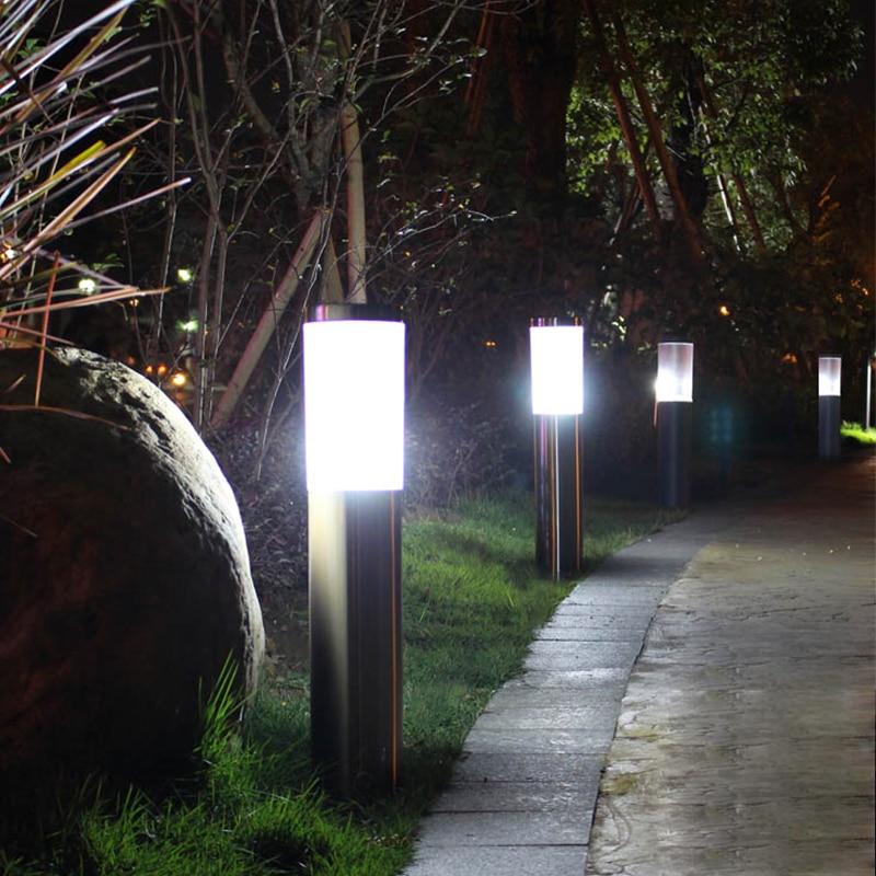 DONWEI LED Outdoor Lawn Lamp IP65 Waterproof 12V 110V 220V E27 Garden Stainless Steel Lights Courtyard Lights Landscape Lamp