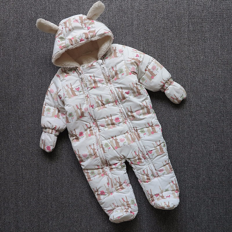 Autumn winter Baby boy girl Cotton Hooded Rompers Newborn Jumpsuit One-piece Suit Kid Outerwear For 0-9M warm thicken baby rompers long sleeve organic cotton autumn
