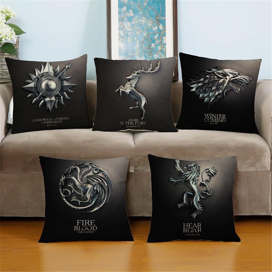 Game Of Thrones Home Decor.Us 4 38 Modern Europe Plain Game Of Thrones Movie Universal Art Bed Chair Sofa Throw Pillow Velvet Cushion Covers Home Decor Linen E824 In Cushion