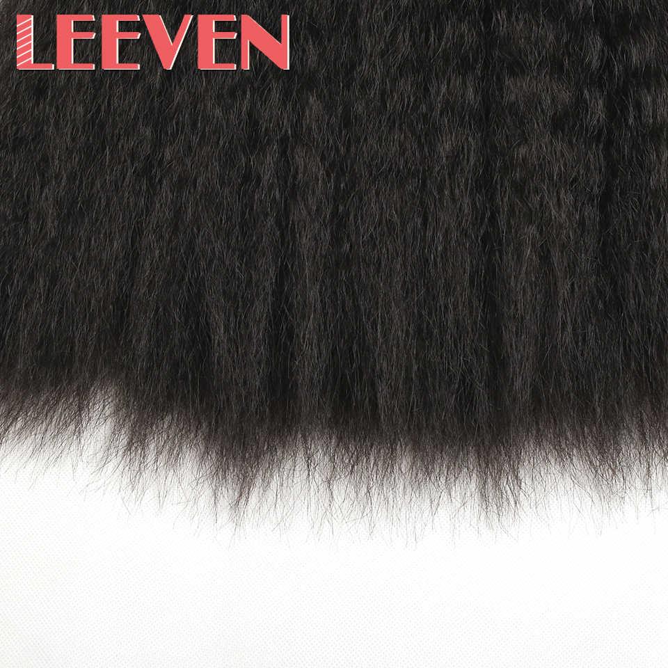 Leeven 8 ''14'' pelo sintético rizado tejido recto DIY pelucas negro marrón tramas paquetes para mujeres de alta temperatura de fibra
