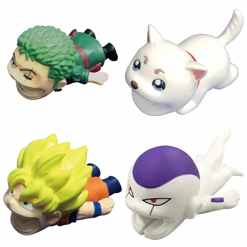 1Pcs Dragon Ball Z Cable Protector For Iphone Winder Bite Phone Holder Accessory Organizer Animal Model Funny Toy