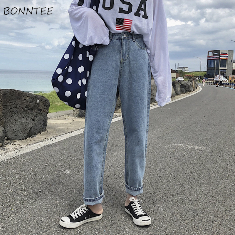 Jeans Woman Loose Solid High Waist All-match Straight Ankle-length Jean Korean Style Simple Zipper Fly Womens Leisure Daily Chic