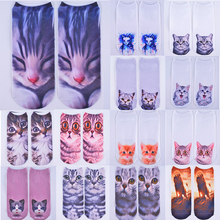 Hot Sale Lovely Womens 3D Printing Cat Socks Ankle For Girls Clothing Accessories