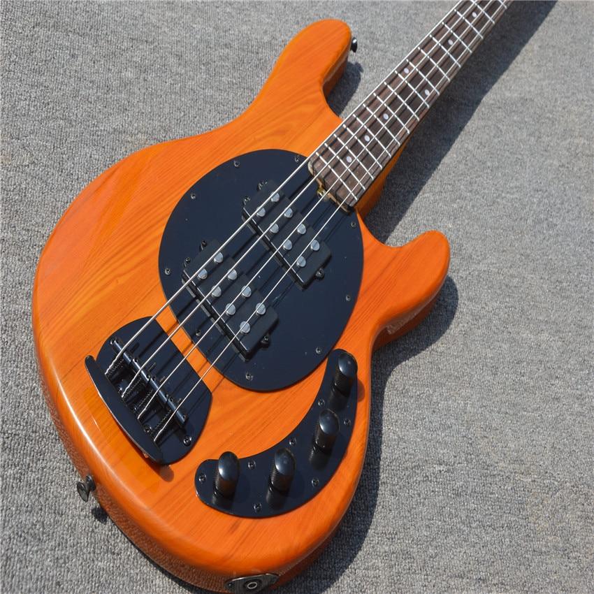 Guitare basse jaune clair 4 cordes musicien basse électrique érable touche guitare OEM