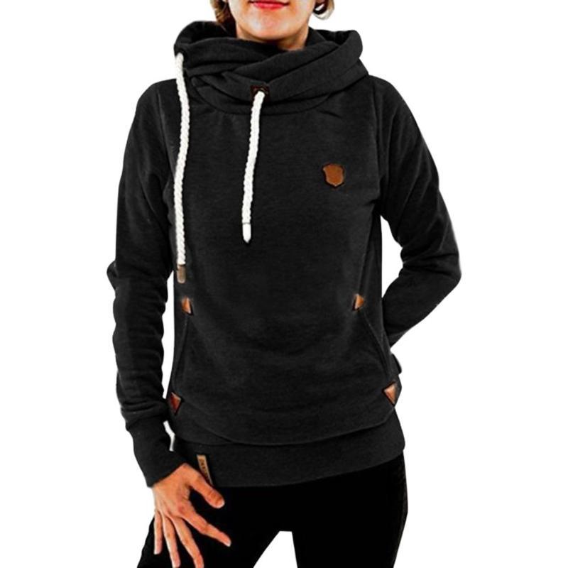 Warm Casual Drawstring Long Sleeve Hoodies Slim Fit Women Tops Soft Cute Pocket Sweatshirt