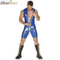 Dark Blue Sleeveless Rubber Latex Catsuit Men Rubber Fetish Jumpsuit Front Zipper Under Crotch Male Bodysuit LCM090