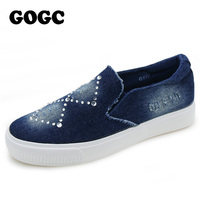 GOGC 2016 Designer Denim Shoes With Crystal Footwear Canvas Shoes Women Female Slipony Causal Shoes For