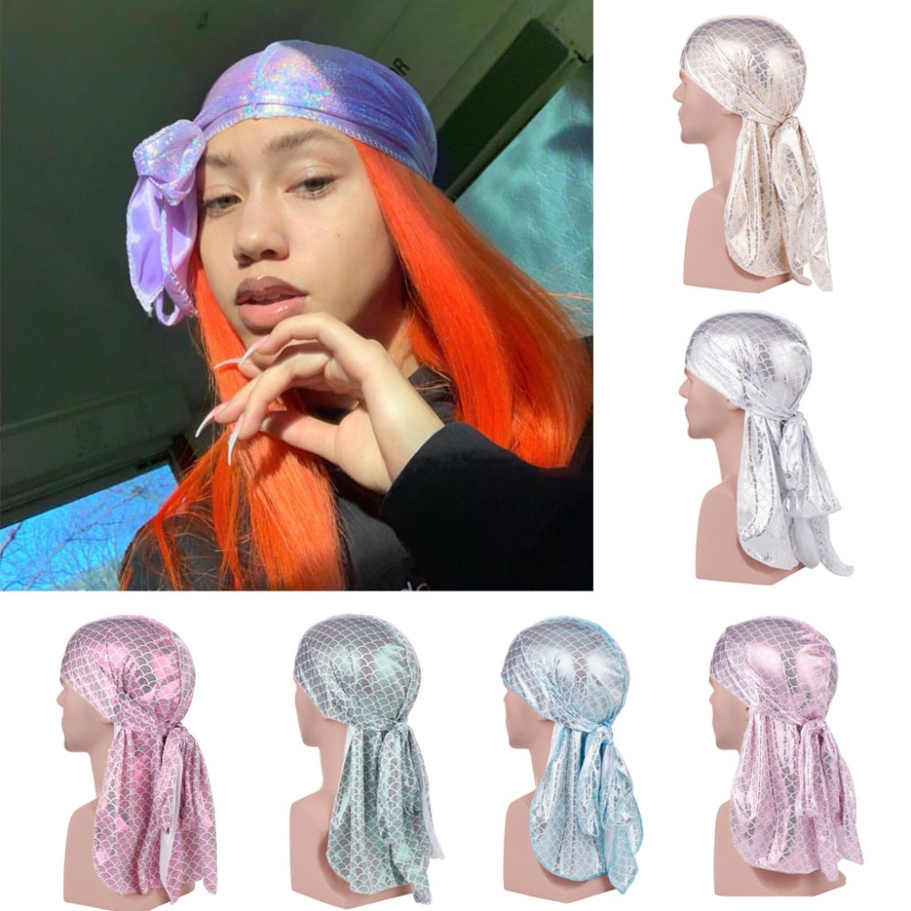 New Unisex Long <font><b>Silk</b></font> Scale Laser Breathable Bandana Turban Hat Wigs Doo <font><b>Durag</b></font> Biker Headwear Pirate Hat <font><b>Men</b></font> Hair Accessories image
