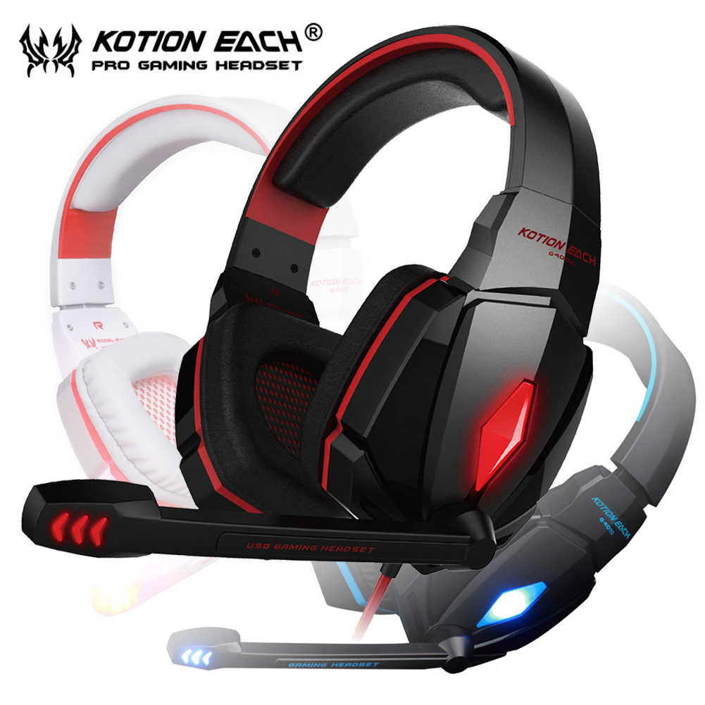 Gamer Headset USB Gaming 3.5mm Earphone Over-ear Game Headphone with Mic and LED KOTION EACH G4000 for PCs game over