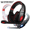 Gamer headset usb 7.1 surround gaming auricular sobre la oreja del juego de auriculares con micrófono de 3.5mm y led kotion each g4000 para pcs