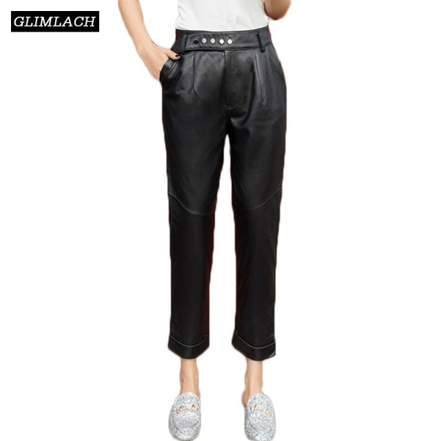 2019 New Casual Sheepskin Harem Pants Women Genuine Leather Streetwear Luxury Real Leather Trousers Lady Harajuku Slim Fit Pants