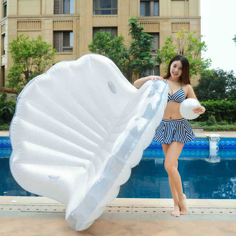 Free By DHL/UPS 170*130*110cm Giant Inflatable clamshell with pearl Pool Float row laps Ride-On Swimming Ring Water Party Toys giant pool float shells inflatable in water floating row pearl ball scallop aqua loungers floating air mattress donuts swim ring