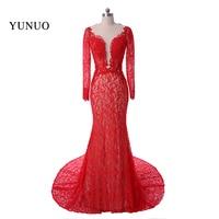Red Lace Evening Dresses Long 2016 Sexy V Neck Long Sleeves Saudi Arabia Mermaid Kaftan Evening