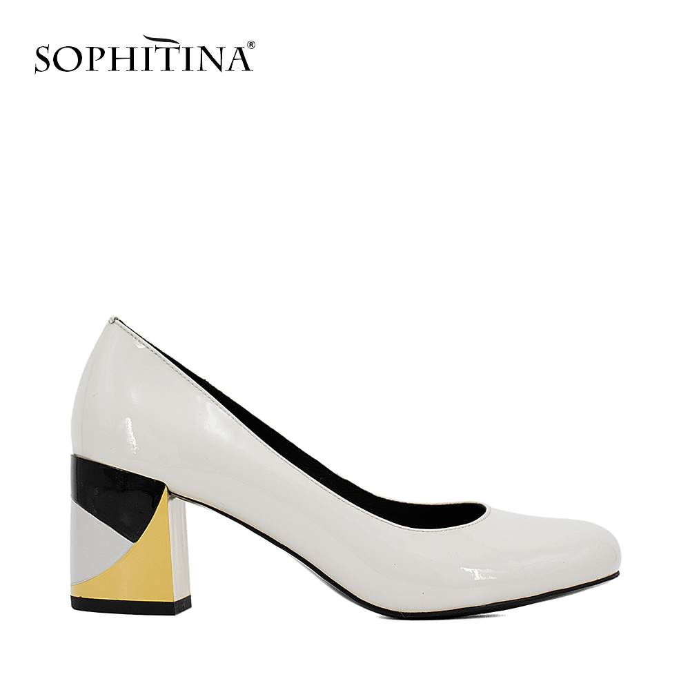 SOPHITINA Brand Thick Heel Ladies Pumps Patent Leather Round Toe Colorful heels Party Gray Black Handmade Shoes Women W09 luxury brand crystal patent leather sandals women high heels thick heel women shoes with heels wedding shoes ladies silver pumps