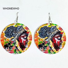 60cm Africa Map Wood Native African Elephant Colorful Earrings Bollywood Vintage Bohemia Party Jewelry Wooden DIY Ear Accessory