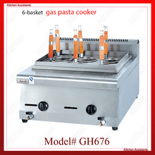 GH676 6-basket gas counter top pasta cooker for commerical use
