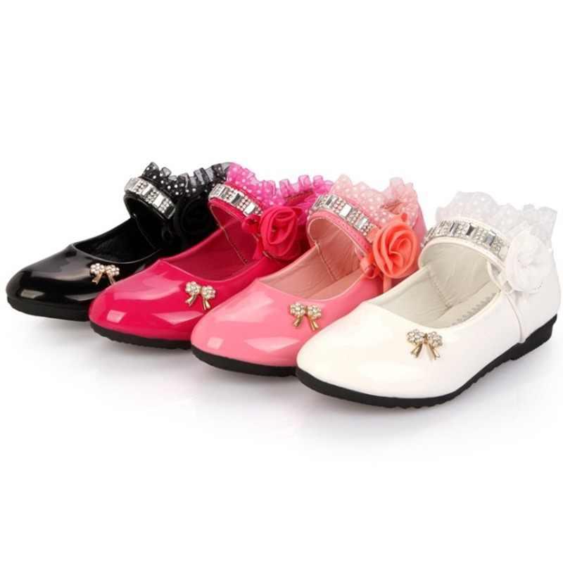 Hot Spring Rhinestone Big Girls Shoes with Rose Flower Fashion Princess Slip-on  Children Flat 471cd06e22d2