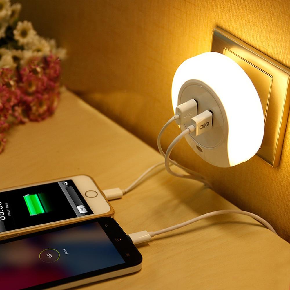Dual USB LED Night Light Plug Charger Sensor Port Night Light Wall Plate Lamp