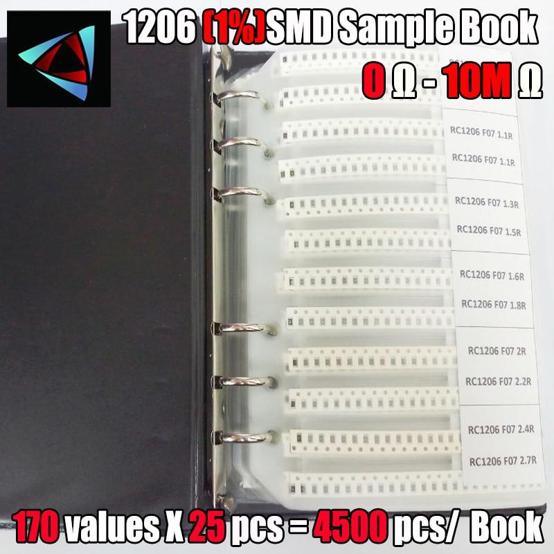 1206 SMD Resistor Sample Book 1% Tolerance 170valuesx25pcs=4250pcs Resistor Kit 0R~10M 0R-10M