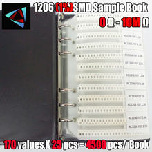 1206 SMD direnci örnek kitap 1% tolerans 170valuesx25pcs = 4250 adet direnç kiti 0R ~ 10M 0R 10M