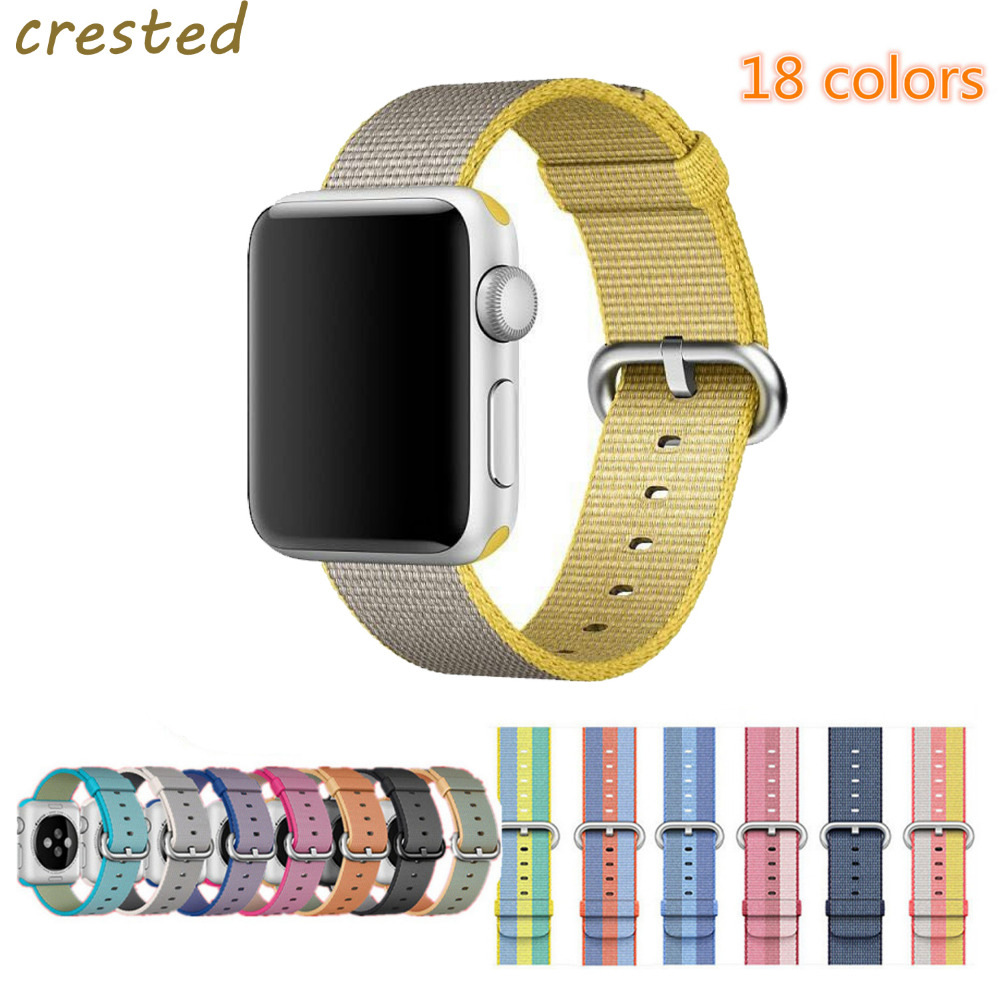CRESTED Watch band Apple Watch band strap 42mm/38mm sport Woven Nylon Fabric watchband wrist bracelet for iwatch 1/2/3 6 colors luxury genuine leather watchband for apple watch sport iwatch 38mm 42mm watch wrist strap bracelect replacement