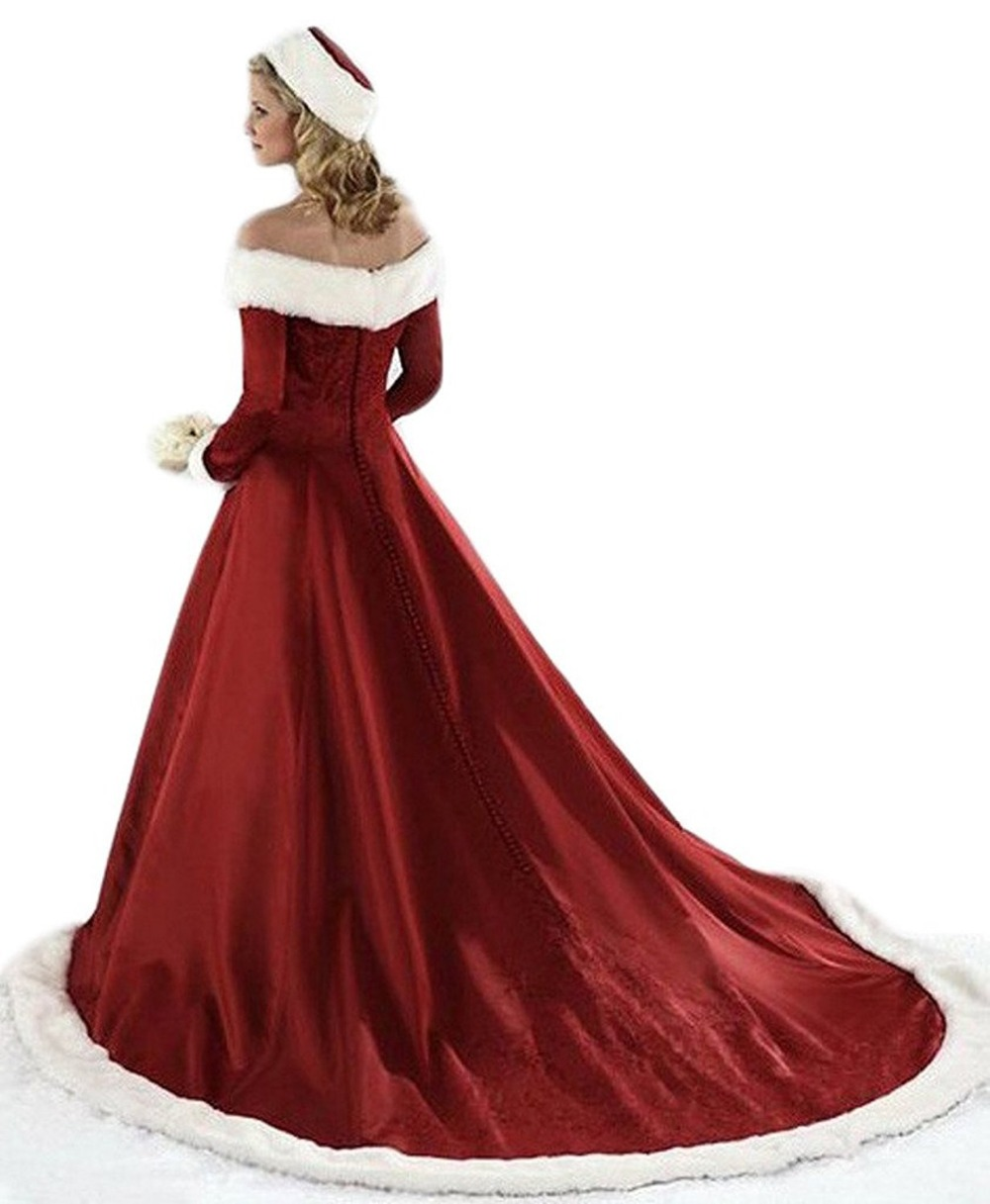 51e19f89427d7 2019 New Women s Christmas Wedding Dresses Plus Size Long Sleeve Winter  Satin With Faux Fur Bridal Gown-in Wedding Dresses from Weddings   Events  on ...